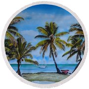 Palm Trees In The Keys Round Beach Towel