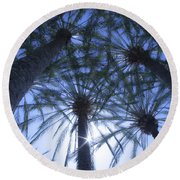 Palm Trees In The Sun Round Beach Towel