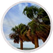Palm Trees In The Wind Round Beach Towel