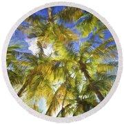 Palm Trees Of Aruba Round Beach Towel