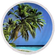 Palm Trees On Little Palm Island Filtered Round Beach Towel
