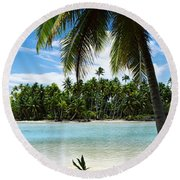 Palm Trees On The Beach, Rangiroa Round Beach Towel