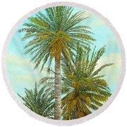 Palm Trees Round Beach Towel