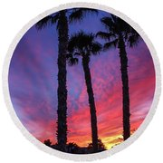 Palm Trees Sunset Round Beach Towel