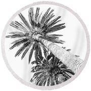 Palm Tree White Round Beach Towel