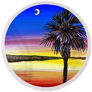 Palmetto Sunset Moon And Stars Round Beach Towel