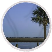 Palmetto View Of Lighthouse Round Beach Towel