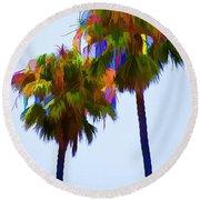 Palms 8 Round Beach Towel