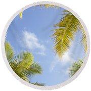 Palms And Sky Round Beach Towel