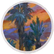 Palms And Sunset Round Beach Towel
