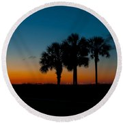 Palms At Clear Dawn Round Beach Towel