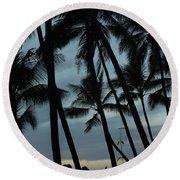 Palms At Dusk Round Beach Towel