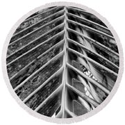 Palms E The Other Way In Black And White Round Beach Towel