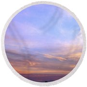 Palms In Shadow Of Sunset Round Beach Towel