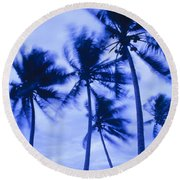 Palms In Storm Wind-bora Bora Tahiti Round Beach Towel