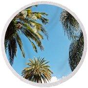 Palms In The Sky Round Beach Towel