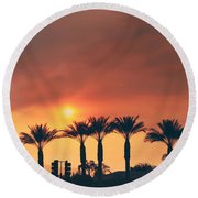Palms On Fire Round Beach Towel by Laurie Search