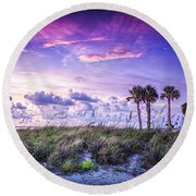 Palms On The Beach Round Beach Towel by Marvin Spates