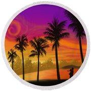 Palms Over St. Croix Round Beach Towel