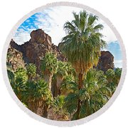 Palms Stand Tall In Andreas Canyon In Indian Canyons-ca Round Beach Towel