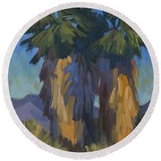 Palms With Skirts Round Beach Towel