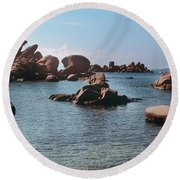 Palombaggia Beach And Rocks, Corsica Round Beach Towel