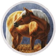 Palomino Horse - Gold Horse Meadow Round Beach Towel