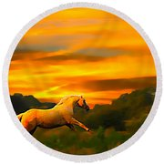 Palomino Pal At Sundown Round Beach Towel