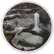 Palouse Falls In Winter Round Beach Towel