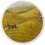 Palouse Farm Whitetail Deer Round Beach Towel by Crista Forest
