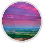 Palouse Fiery Dawn Round Beach Towel