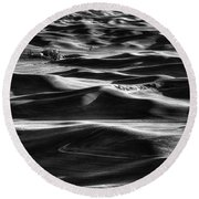 Palouse In Black And White Round Beach Towel