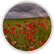 Palouse Poppies Round Beach Towel