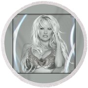 Pamela Anderson - Angel Rays Of Light Round Beach Towel