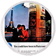 Pan Am To Paris Round Beach Towel