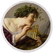 Pan Playing His Pipes Round Beach Towel by Paulus Moreelse