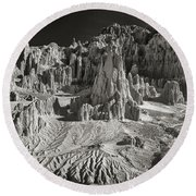 Panaca Sandstone Formations In Black And White Nevada Landscape Round Beach Towel