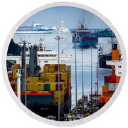 Panama Canal Express Round Beach Towel