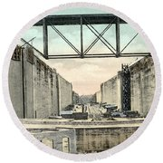 Panama Canal Locks Round Beach Towel