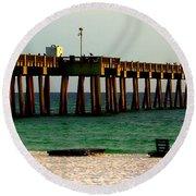 Panama City Beach Pier 2  Round Beach Towel