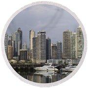Panama City Skyline Panama Round Beach Towel