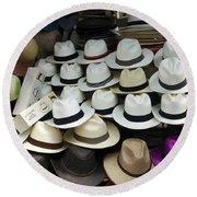 Panama Hats In Ecuador Round Beach Towel