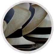 Panama Hats Round Beach Towel