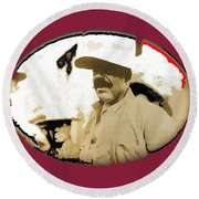 Pancho Villa   Portrait Unknown Mexico Location And Date-2013  Round Beach Towel