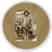 Pancho Villa  Portrait With Children No Location Or Date-2013 Round Beach Towel