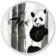 Panda Papa Bear Round Beach Towel