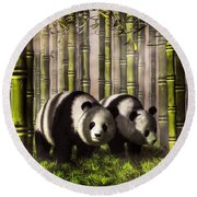 Pandas In A Bamboo Forest Round Beach Towel