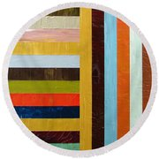 Panel Abstract L Round Beach Towel by Michelle Calkins