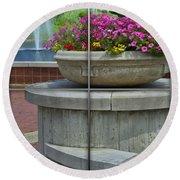 Sample Paneled Concrete Flower Pot Round Beach Towel
