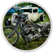 Panhead Harley And Ford Pickup Round Beach Towel